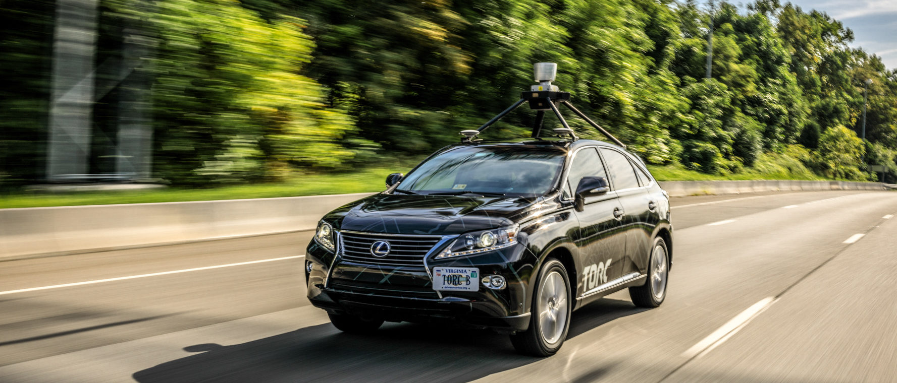 One of Torc's vehicles — a Lexus RX outfitted with their Asimov self-driving technology.