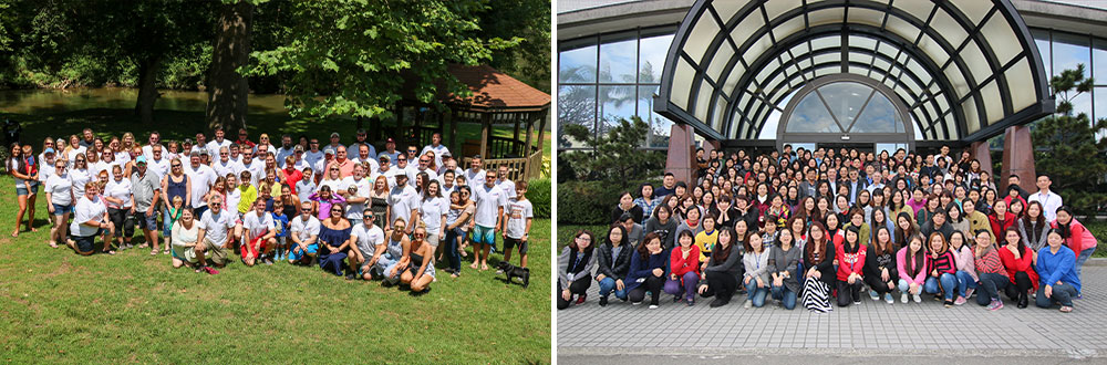A photo of VPT's Blacksburg employees and a photo of Taiwan employees.